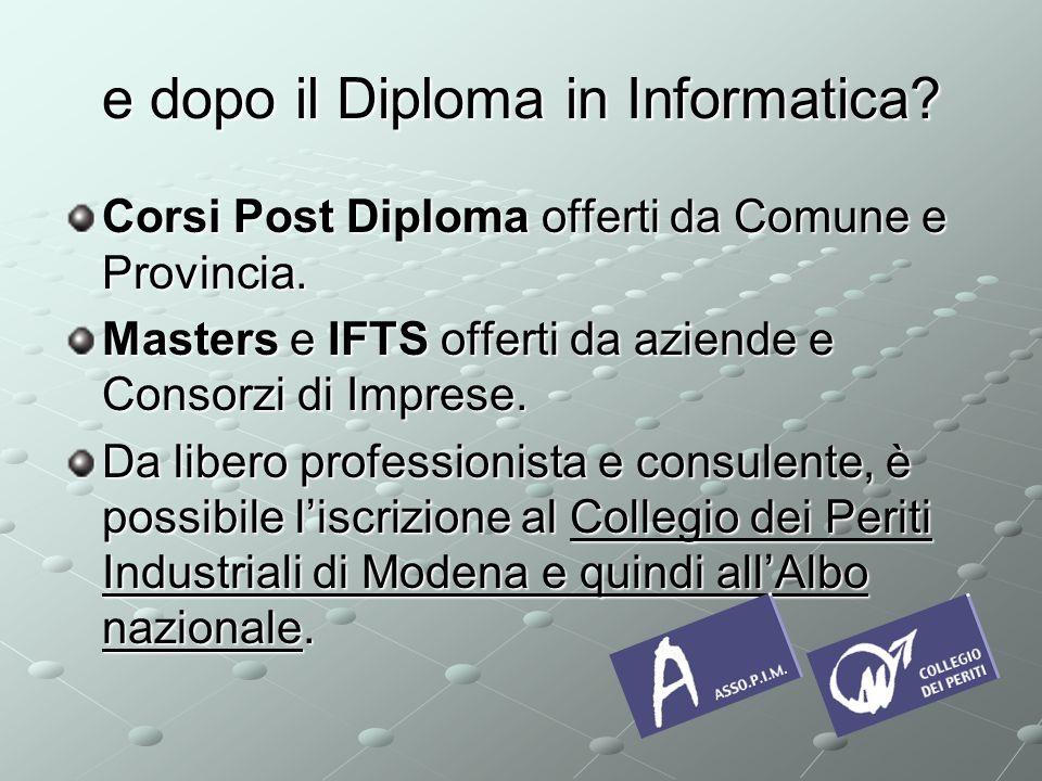 e dopo il Diploma in Informatica.Corsi Post Diploma offerti da Comune e Provincia.