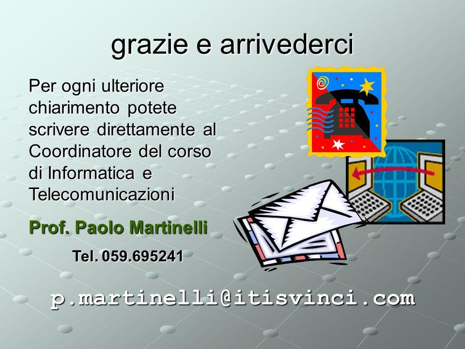 grazie e arrivederci p.martinelli@itisvinci.com Per ogni ulteriore chiarimento potete scrivere direttamente al Coordinatore del corso di Informatica e Telecomunicazioni Prof.