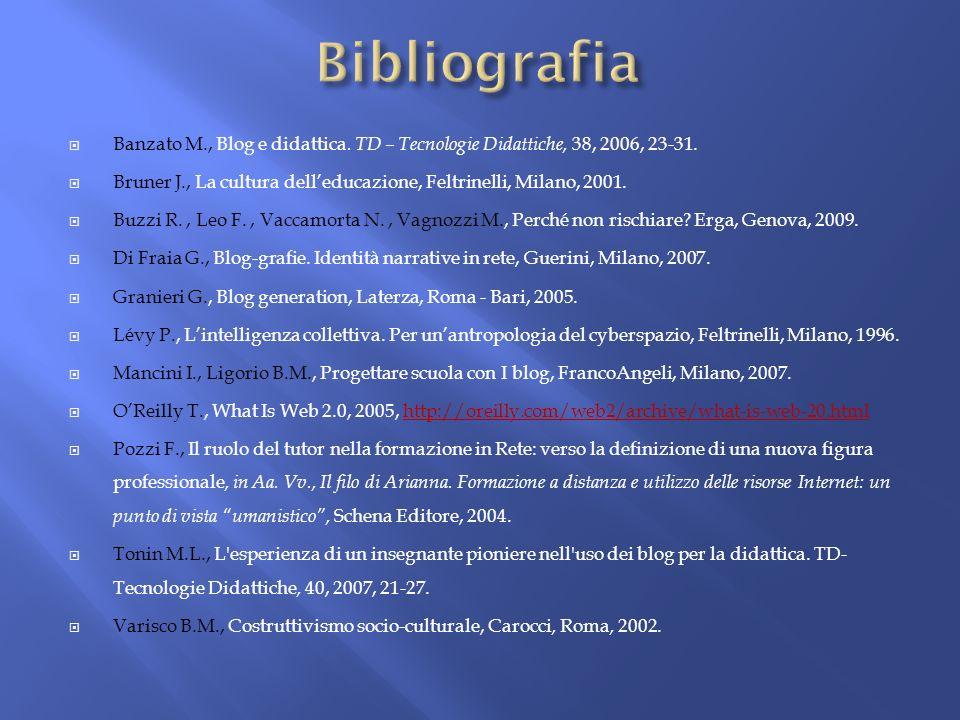 Banzato M., Blog e didattica. TD – Tecnologie Didattiche, 38, 2006, 23-31. Bruner J., La cultura delleducazione, Feltrinelli, Milano, 2001. Buzzi R.,