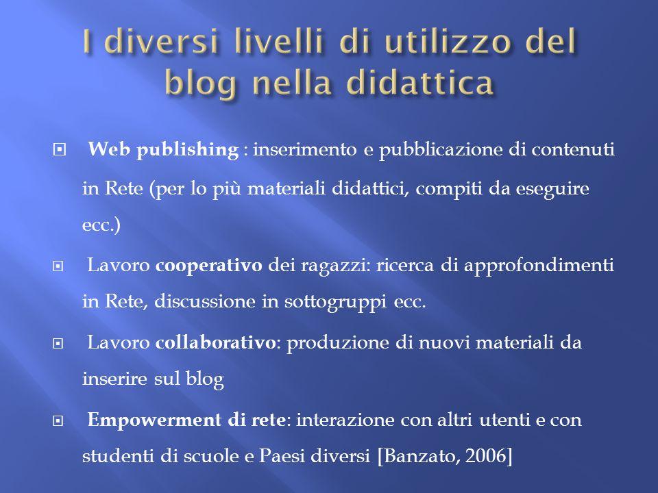 Web publishing : inserimento e pubblicazione di contenuti in Rete (per lo più materiali didattici, compiti da eseguire ecc.) Lavoro cooperativo dei ra