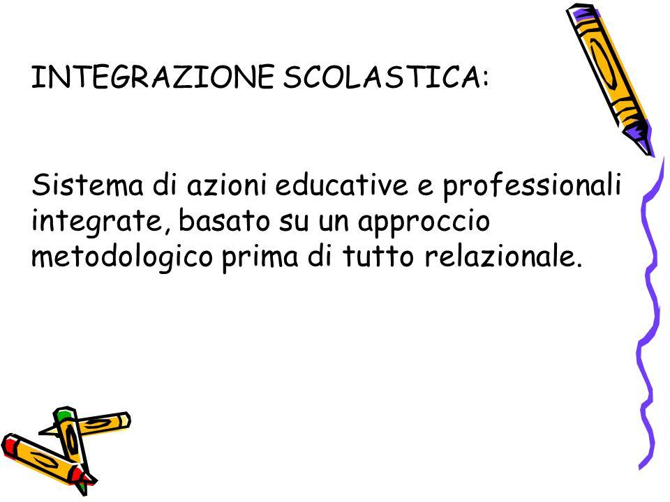 INTEGRAZIONE SCOLASTICA: Sistema di azioni educative e professionali integrate, basato su un approccio metodologico prima di tutto relazionale.