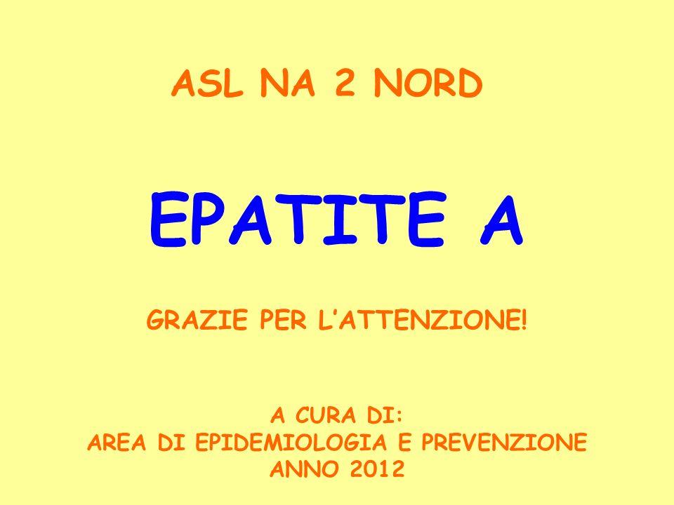 EPATITE A A CURA DI: AREA DI EPIDEMIOLOGIA E PREVENZIONE ANNO 2012 ASL NA 2 NORD GRAZIE PER LATTENZIONE!