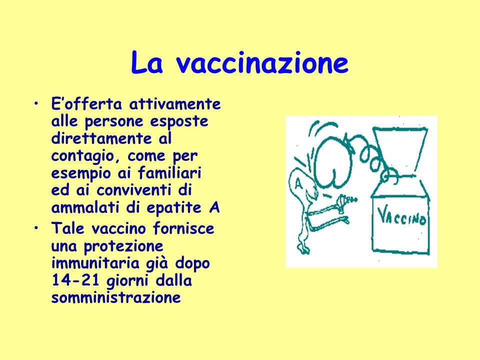 La vaccinazione Eofferta attivamente alle persone esposte direttamente al contagio, come per esempio ai familiari ed ai conviventi di ammalati di epat