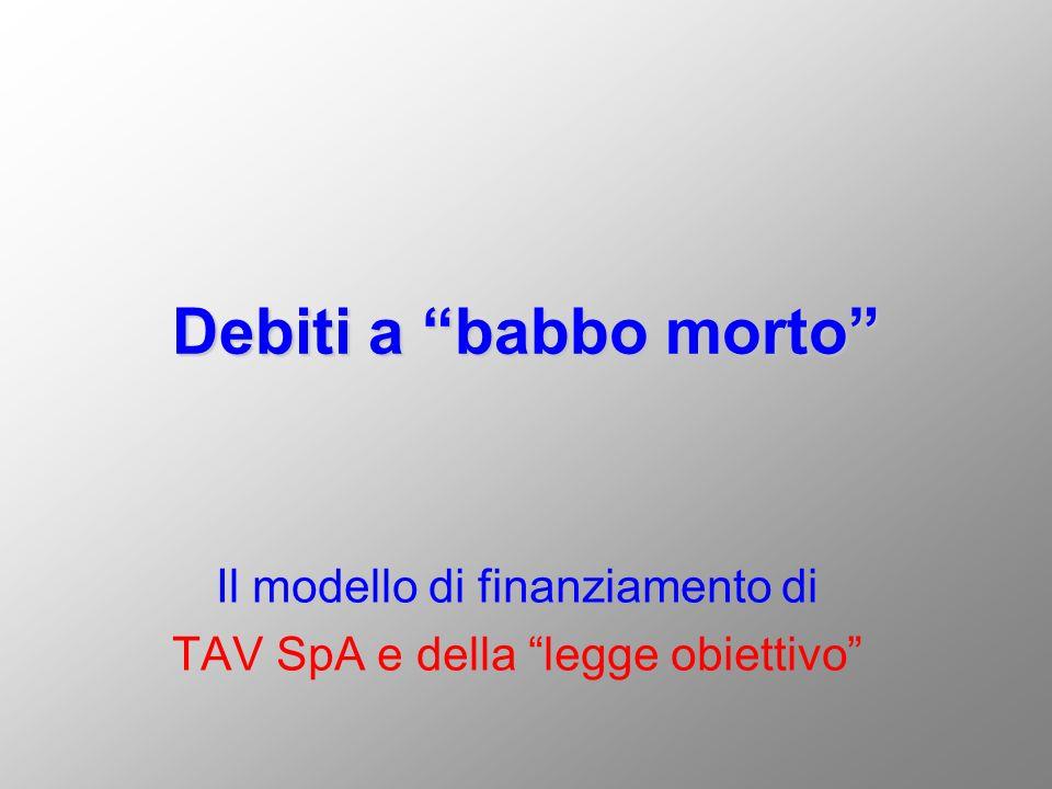 Il modello TAV e la legge obiettivo Gli interessi intercalari per i debiti accesi da TAV SpA delle sole opere avviate fino al 91 (originariamente limitati ad un massimo di 770 milioni di ) supereranno nel 2009, data di consegna prevista delle ultime tratte, gli 8.7 miliardi di Euro.