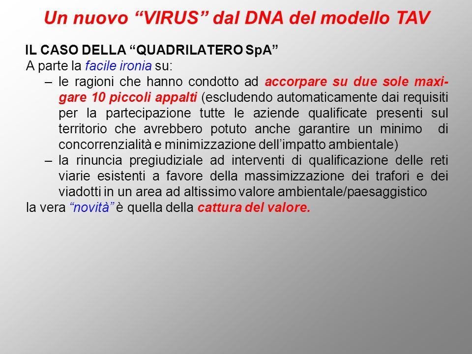 IL CASO DELLA QUADRILATERO SpA Un nuovo VIRUS dal DNA del modello TAV A parte la facile ironia su: –le ragioni che hanno condotto ad accorpare su due