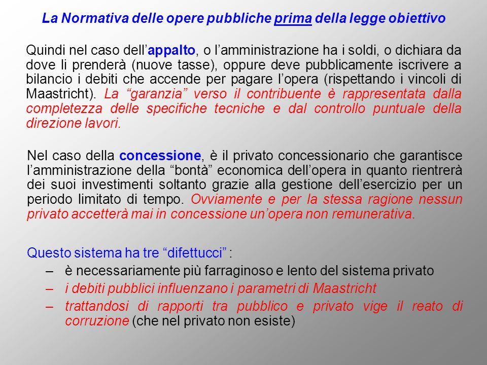 La Normativa delle opere pubbliche prima della legge obiettivo Quindi nel caso dellappalto, o lamministrazione ha i soldi, o dichiara da dove li prend