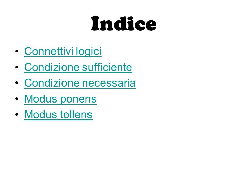 Indice Connettivi logici Condizione sufficiente Condizione necessaria Modus ponens Modus tollens