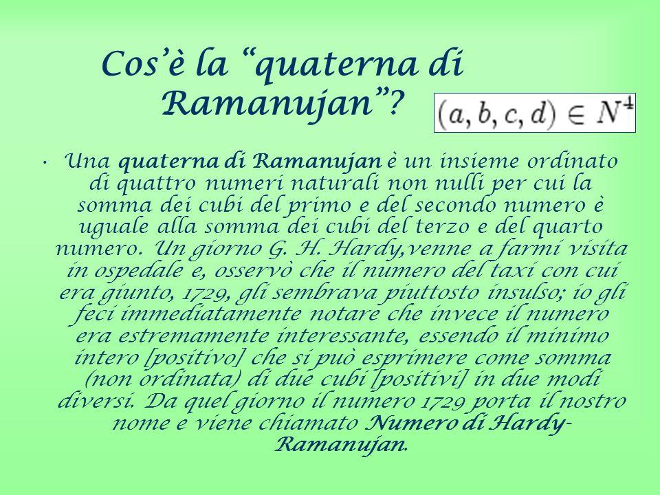 Cosè la quaterna di Ramanujan? Una quaterna di Ramanujan è un insieme ordinato di quattro numeri naturali non nulli per cui la somma dei cubi del prim