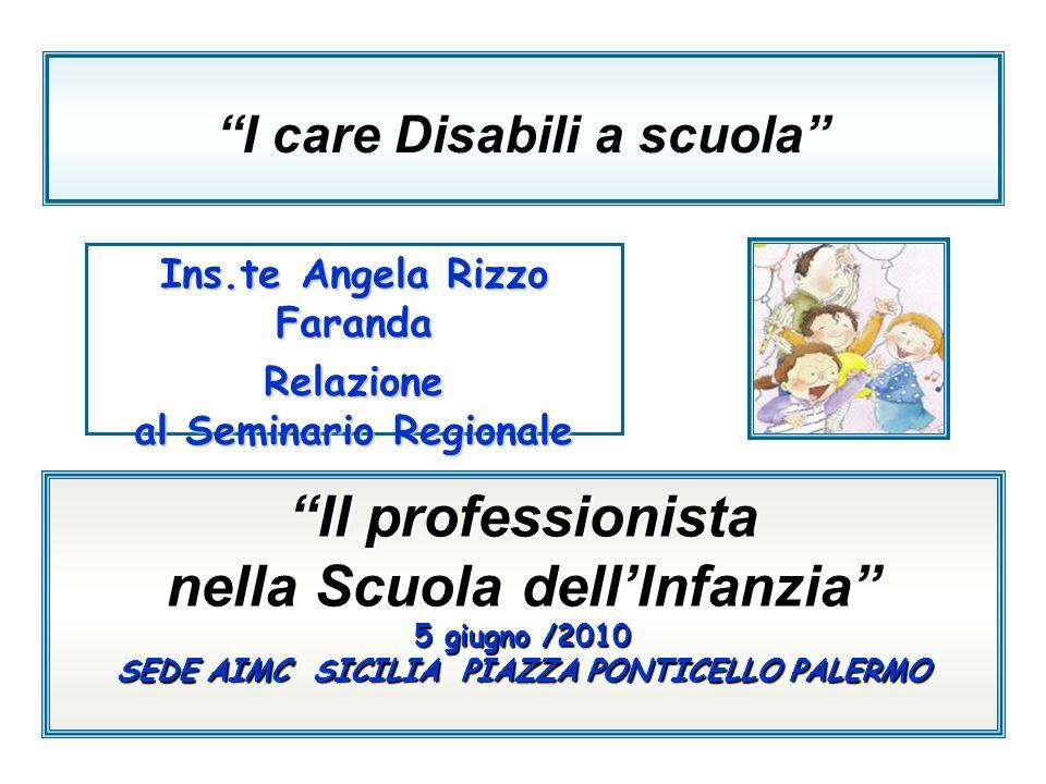 I care Disabili a scuola Ins.te Angela Rizzo Faranda Relazione al Seminario Regionale Il professionista nella Scuola dellInfanzia 5 giugno/2010 5 giug