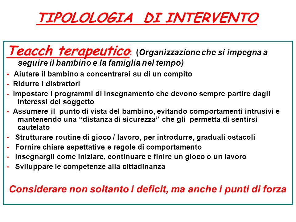 Teacch terapeutico : (Organizzazione che si impegna a seguire il bambino e la famiglia nel tempo) - Aiutare il bambino a concentrarsi su di un compito