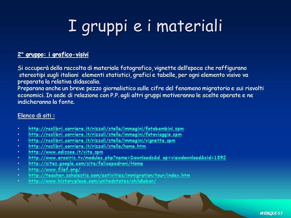 I gruppi e i materiali 2° gruppo: i grafico-visivi Si occuperà della raccolta di materiale fotografico, vignette dellepoca che raffigurano stereotipi