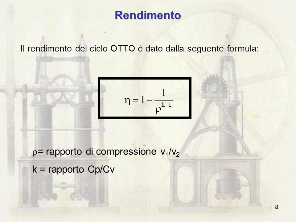 8 Rendimento = rapporto di compressione v 1 /v 2 k = rapporto Cp/Cv Il rendimento del ciclo OTTO è dato dalla seguente formula: