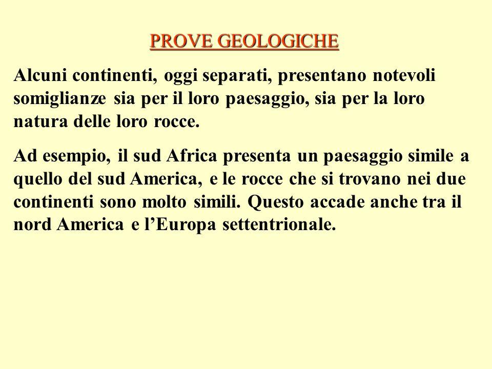 PROVE GEOLOGICHE Alcuni continenti, oggi separati, presentano notevoli somiglianze sia per il loro paesaggio, sia per la loro natura delle loro rocce.