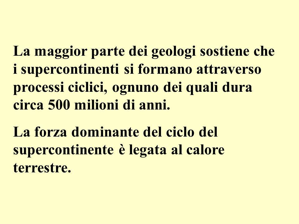 La maggior parte dei geologi sostiene che i supercontinenti si formano attraverso processi ciclici, ognuno dei quali dura circa 500 milioni di anni. L