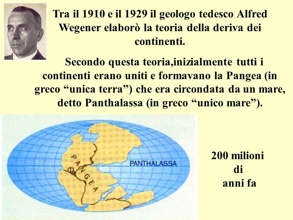 Tra il 1910 e il 1929 il geologo tedesco Alfred Wegener elaborò la teoria della deriva dei continenti. Secondo questa teoria,inizialmente tutti i cont