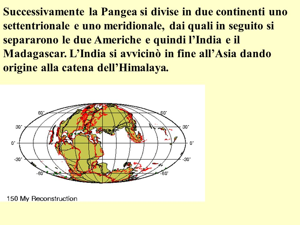 Successivamente la Pangea si divise in due continenti uno settentrionale e uno meridionale, dai quali in seguito si separarono le due Americhe e quindi lIndia e il Madagascar.