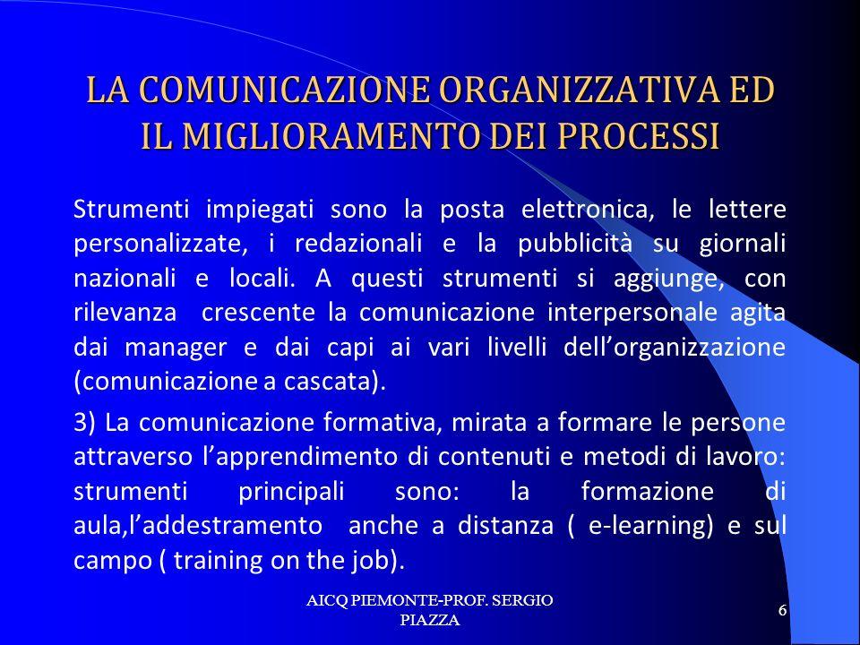 LA COMUNICAZIONE ORGANIZZATIVA ED IL MIGLIORAMENTO DEI PROCESSI Strumenti impiegati sono la posta elettronica, le lettere personalizzate, i redazional