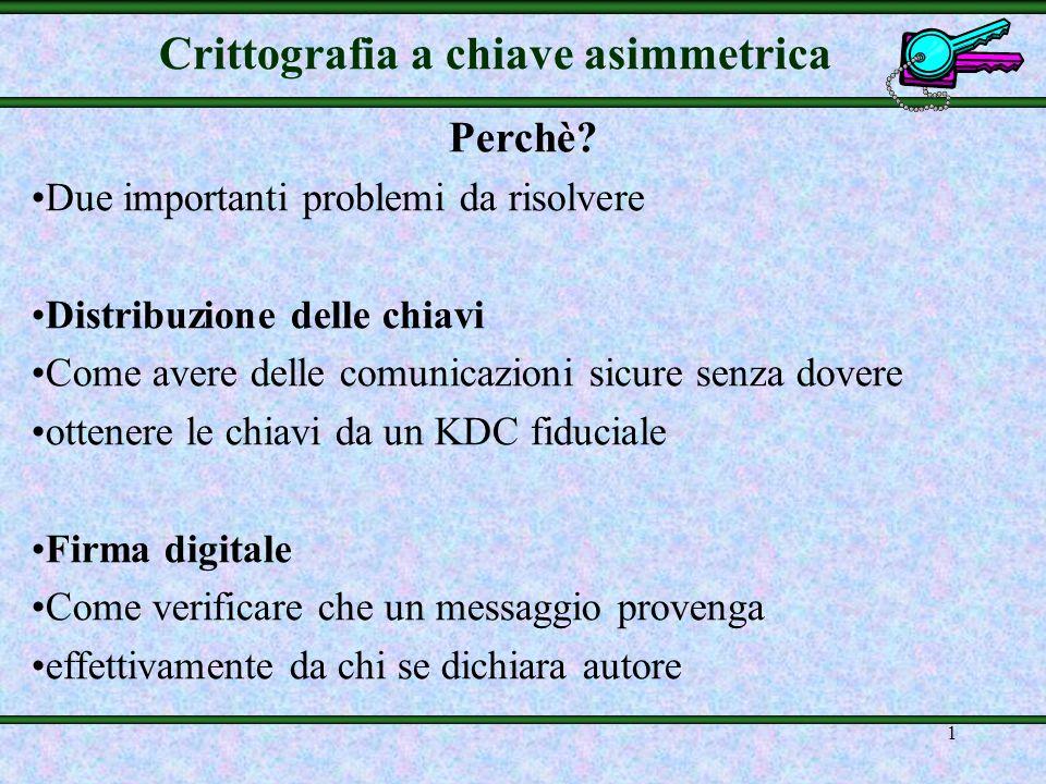 1 Crittografia a chiave asimmetrica Perchè.