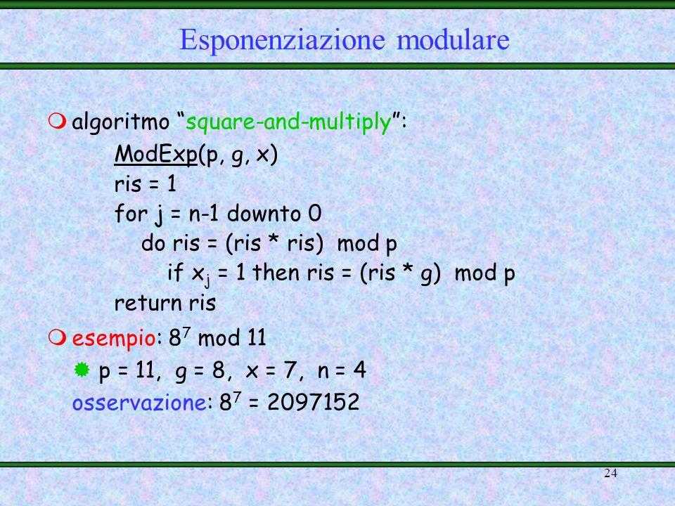 23 msoluzione migliore: poiché vale: allora ci basta calcolare i valori g 2 j, per j {0,1,…,n- 1}, e moltiplicare tra loro solo quelli per cui x j =1