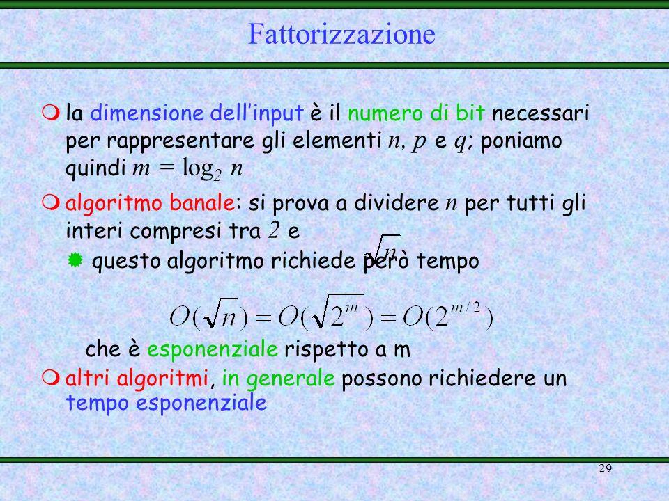 28 maltro esempio di funzione che sembra essere one-way: il prodotto tra numeri interi definizione molto semplice: dati due numeri primi p e q, calcol