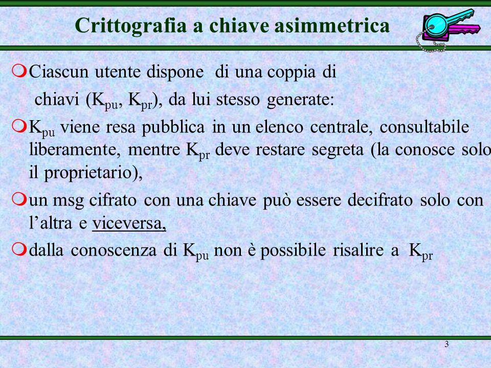 2 Crittografia a chiave pubblica mAnche se può assicurare la segretezza, la crittografia asimmetrica non viene utilizzata per questo scopo a causa dei
