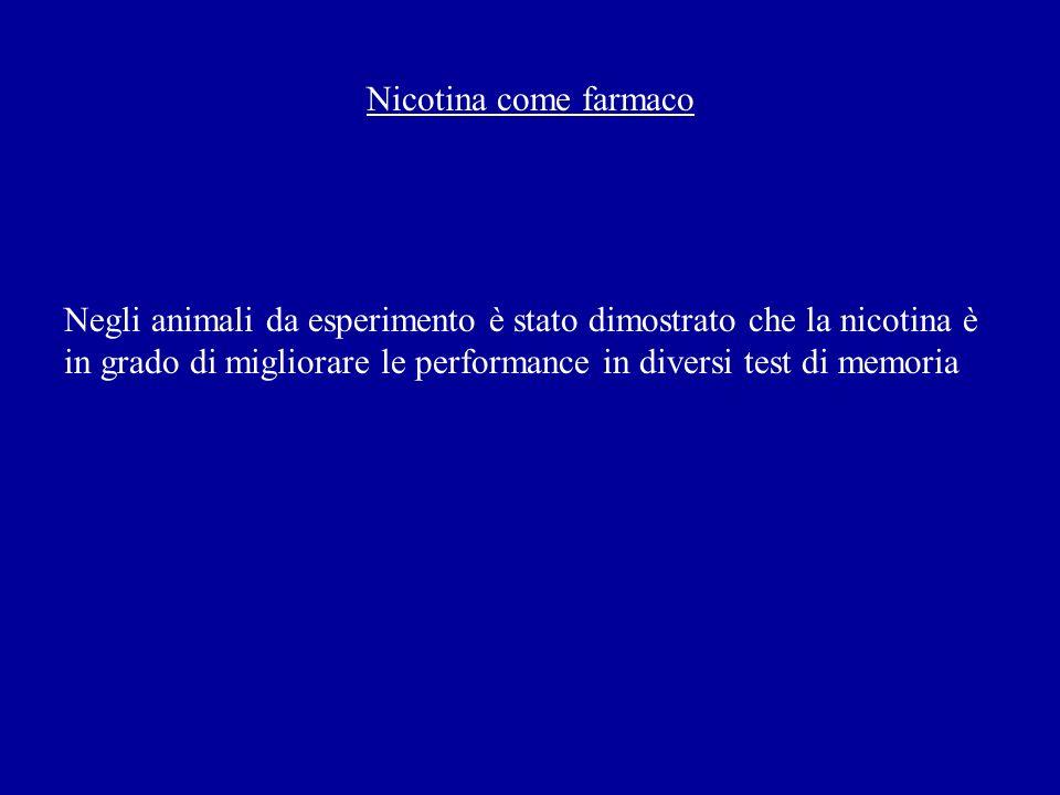 Nicotina come farmaco Negli animali da esperimento è stato dimostrato che la nicotina è in grado di migliorare le performance in diversi test di memor