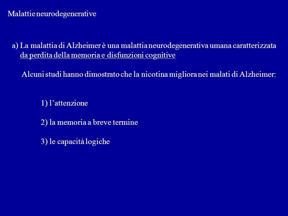 Malattie neurodegenerative a) La malattia di Alzheimer è una malattia neurodegenerativa umana caratterizzata da perdita della memoria e disfunzioni co