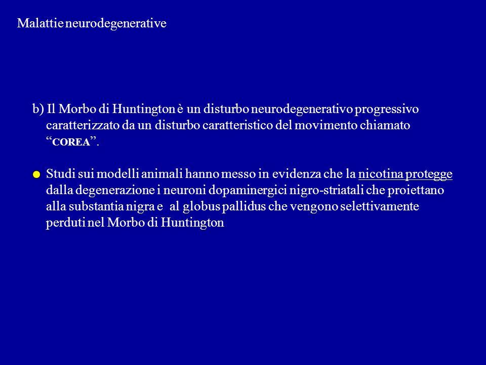 Malattie neurodegenerative b) Il Morbo di Huntington è un disturbo neurodegenerativo progressivo caratterizzato da un disturbo caratteristico del movi