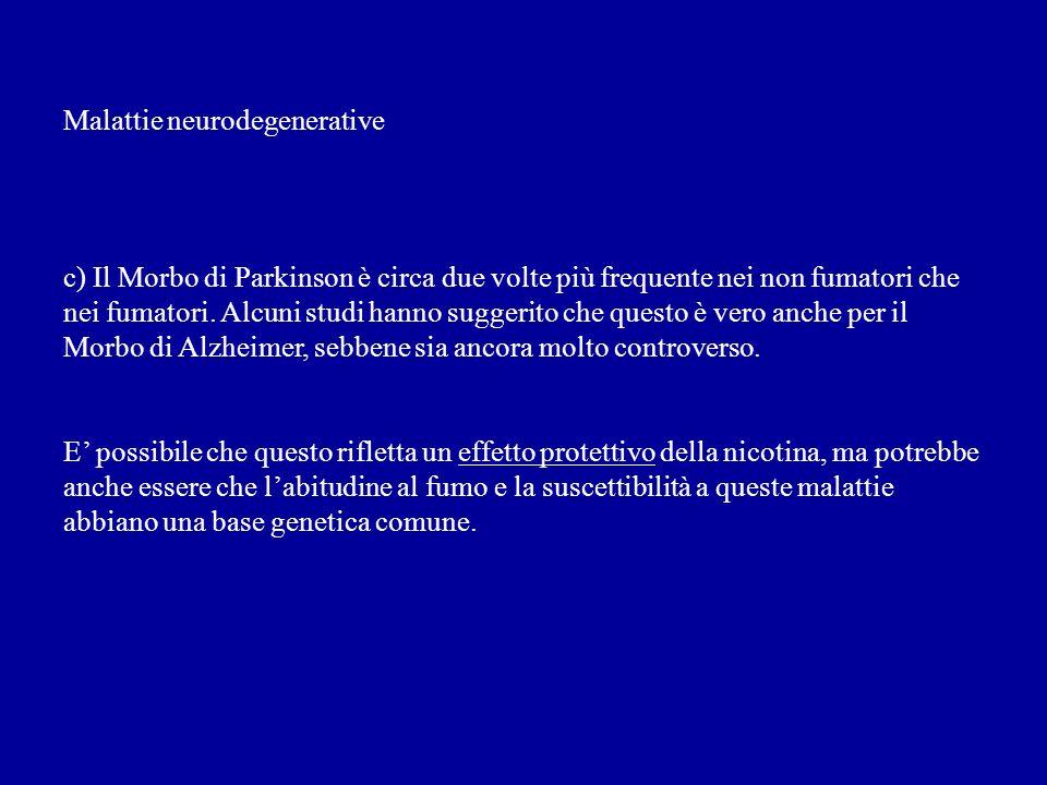 Malattie neurodegenerative c) Il Morbo di Parkinson è circa due volte più frequente nei non fumatori che nei fumatori. Alcuni studi hanno suggerito ch