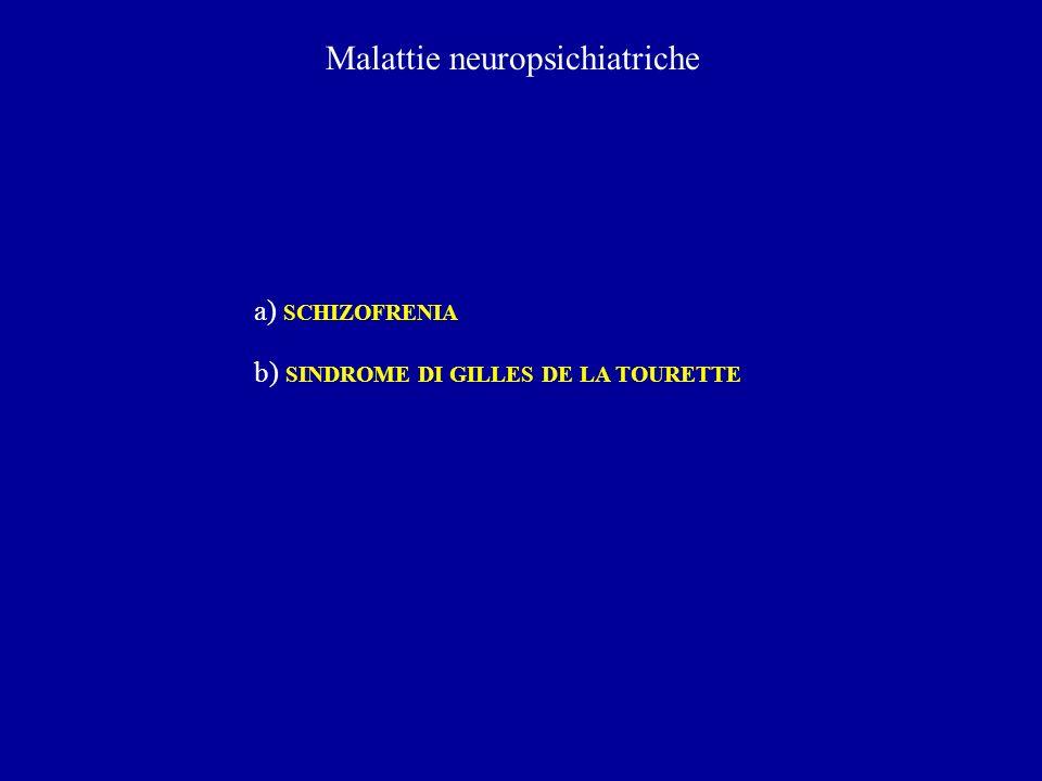 Malattie neuropsichiatriche a) SCHIZOFRENIA b) SINDROME DI GILLES DE LA TOURETTE