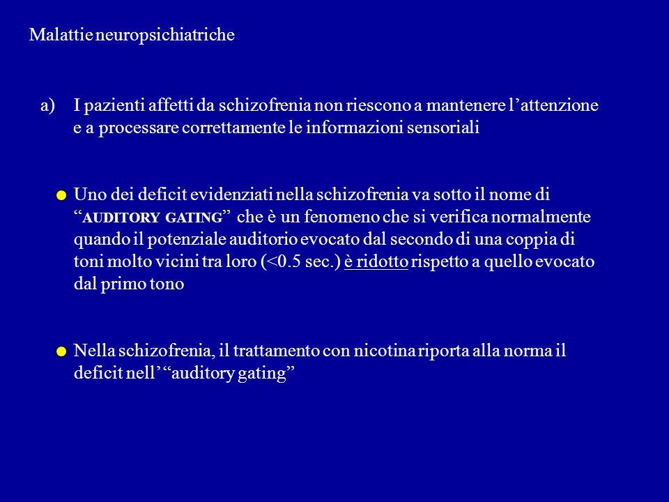 Malattie neuropsichiatriche a)I pazienti affetti da schizofrenia non riescono a mantenere lattenzione e a processare correttamente le informazioni sen