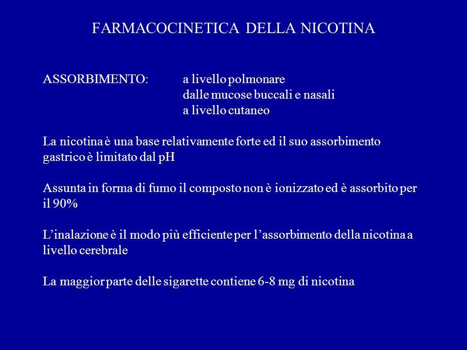 FARMACOCINETICA DELLA NICOTINA ASSORBIMENTO:a livello polmonare dalle mucose buccali e nasali a livello cutaneo La nicotina è una base relativamente f