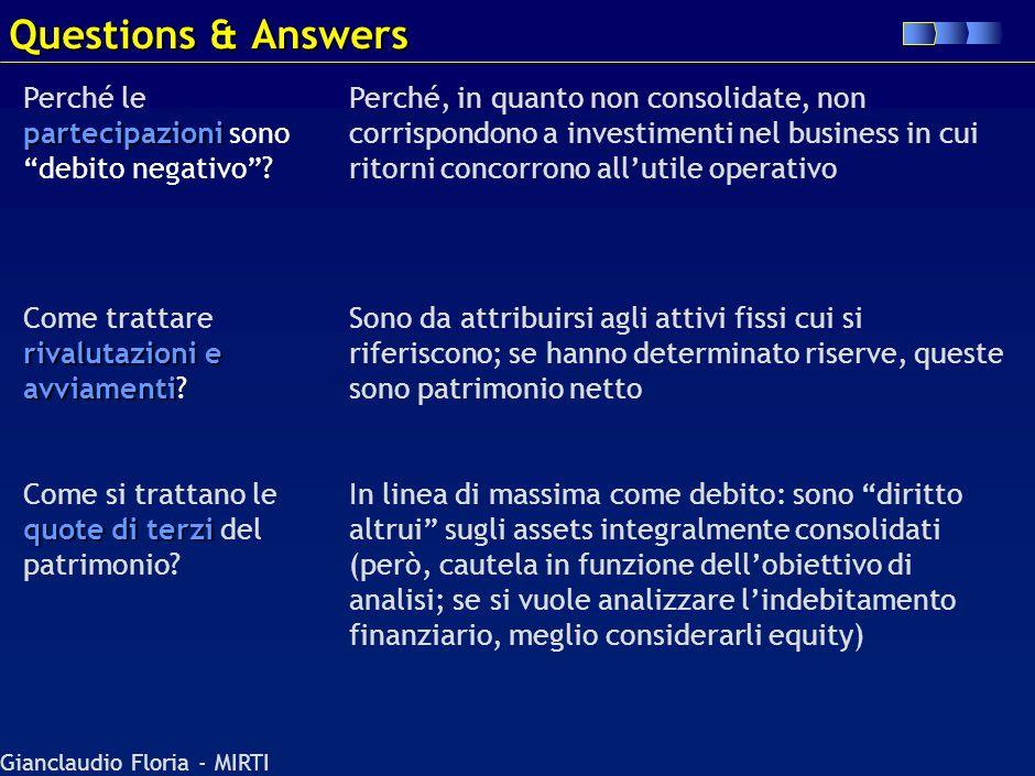 Gianclaudio Floria - MIRTI Questions & Answers Perché è il debito relativo a due fornitori di fattori (manodopera e infrastrutture pubbliche) il cui p