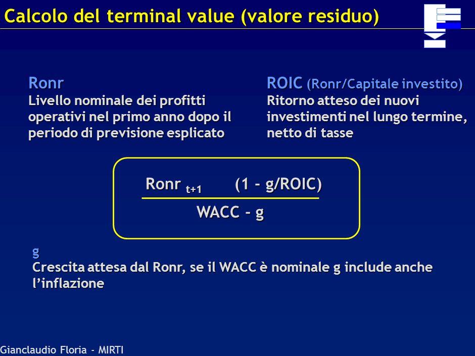 Gianclaudio Floria - MIRTI Nel calcolo dei WACC va considerata la struttura finanziaria target, non quella attuale La struttura finanziaria target è u