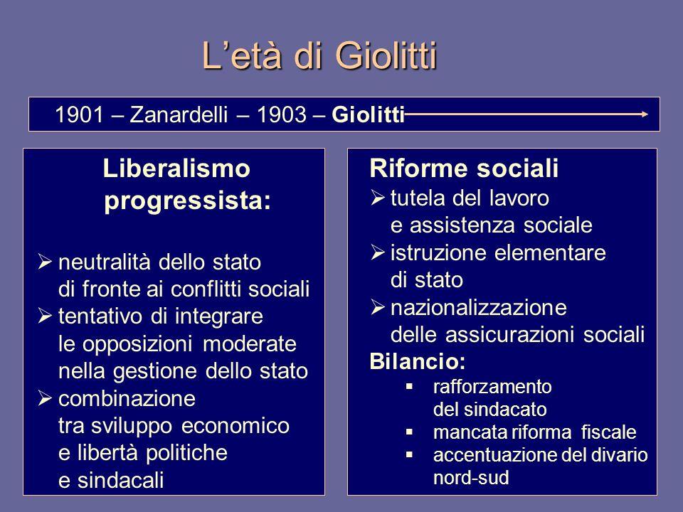 Letà di Giolitti Liberalismo progressista: neutralità dello stato di fronte ai conflitti sociali tentativo di integrare le opposizioni moderate nella