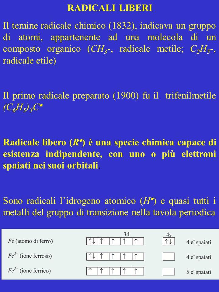 RADICALI LIBERI Il temine radicale chimico (1832), indicava un gruppo di atomi, appartenente ad una molecola di un composto organico (CH 3 -, radicale