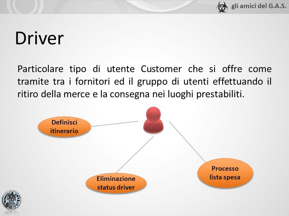 Driver Particolare tipo di utente Customer che si offre come tramite tra i fornitori ed il gruppo di utenti effettuando il ritiro della merce e la con