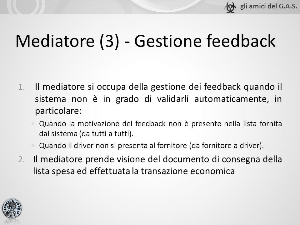 Mediatore (3) - Gestione feedback 1. Il mediatore si occupa della gestione dei feedback quando il sistema non è in grado di validarli automaticamente,