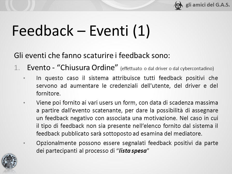Feedback – Eventi (1) Gli eventi che fanno scaturire i feedback sono: 1. Evento - Chiusura Ordine (effettuato o dal driver o dal cybercontadino) In qu