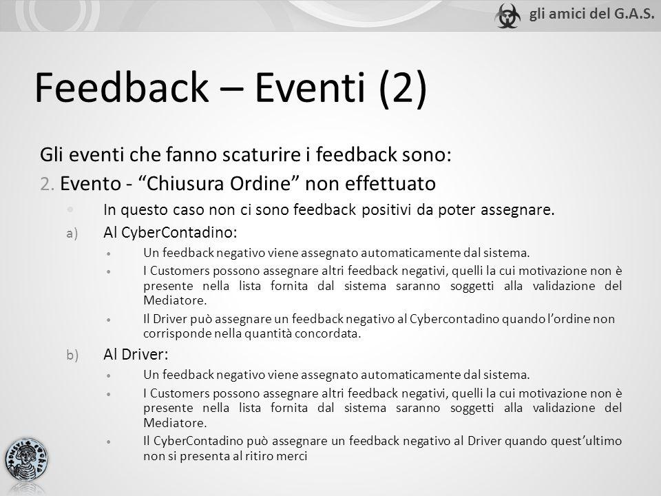 Feedback – Eventi (2) Gli eventi che fanno scaturire i feedback sono: 2. Evento - Chiusura Ordine non effettuato In questo caso non ci sono feedback p