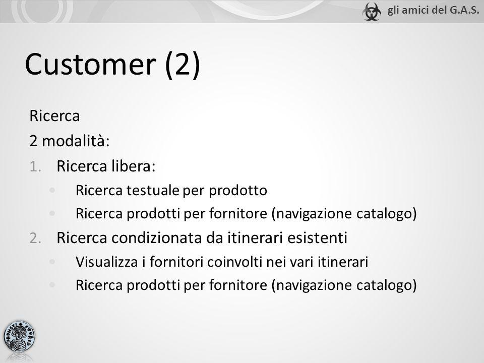 Customer (2) Ricerca 2 modalità: 1. Ricerca libera: Ricerca testuale per prodotto Ricerca prodotti per fornitore (navigazione catalogo) 2. Ricerca con