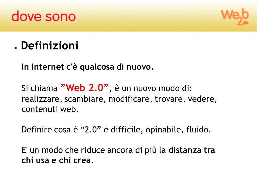 Definizioni In Internet c'è qualcosa di nuovo. Si chiama Web 2.0, è un nuovo modo di: realizzare, scambiare, modificare, trovare, vedere, contenuti we