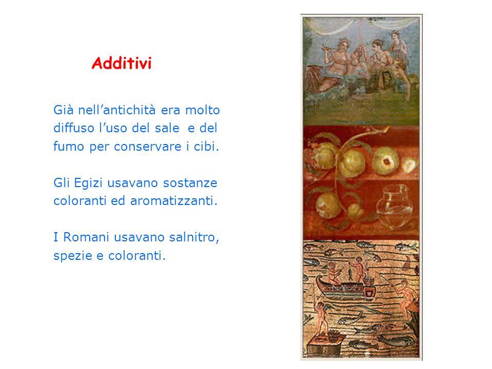 Additivi Già nellantichità era molto diffuso luso del sale e del fumo per conservare i cibi. Gli Egizi usavano sostanze coloranti ed aromatizzanti. I