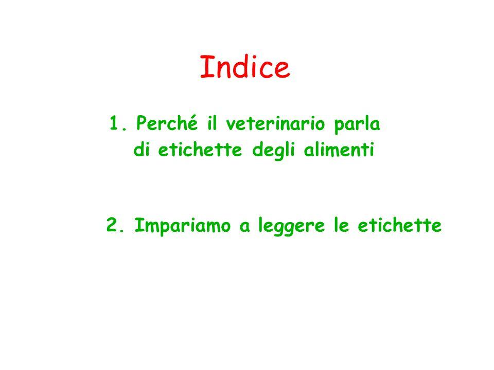 1. Perché il veterinario parla di etichette degli alimenti 2. Impariamo a leggere le etichette Indice
