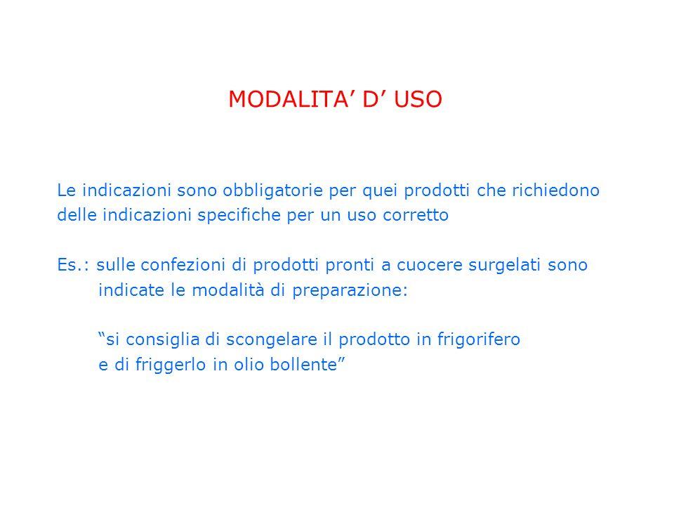 MODALITA D USO Le indicazioni sono obbligatorie per quei prodotti che richiedono delle indicazioni specifiche per un uso corretto Es.: sulle confezion