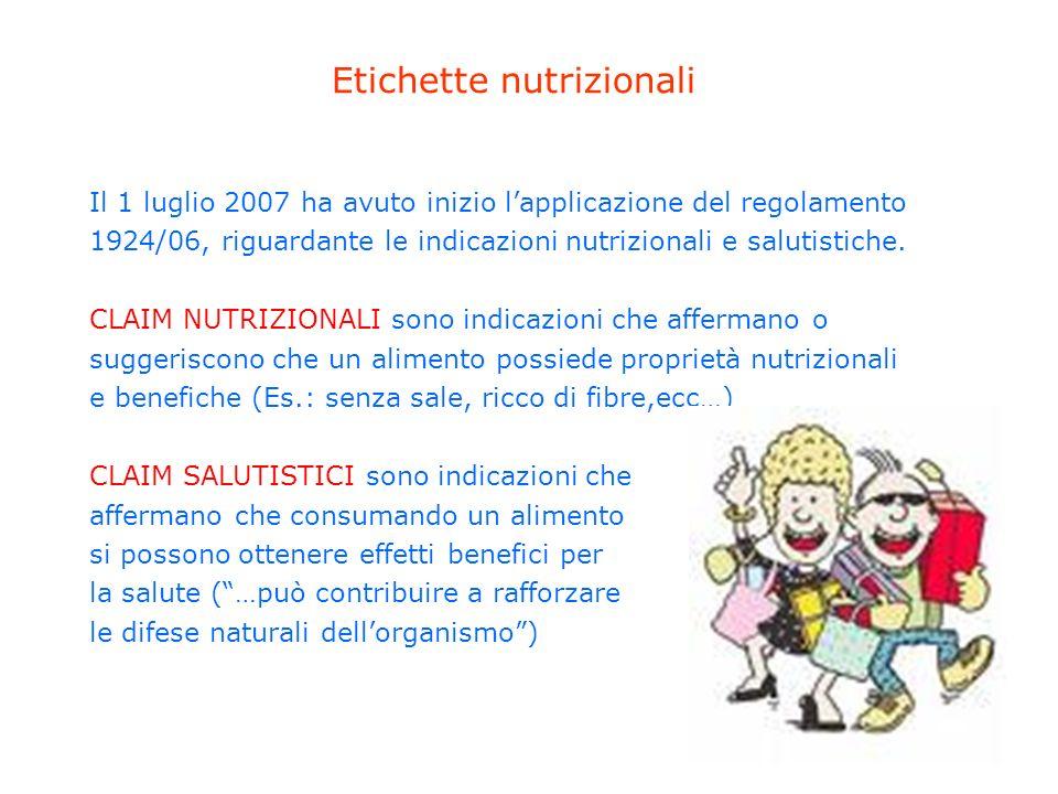 Etichette nutrizionali Il 1 luglio 2007 ha avuto inizio lapplicazione del regolamento 1924/06, riguardante le indicazioni nutrizionali e salutistiche.