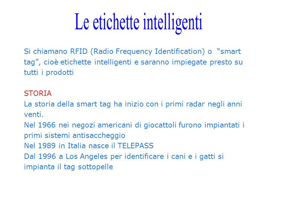 Si chiamano RFID (Radio Frequency Identification) o smart tag, cioè etichette intelligenti e saranno impiegate presto su tutti i prodotti STORIA La st