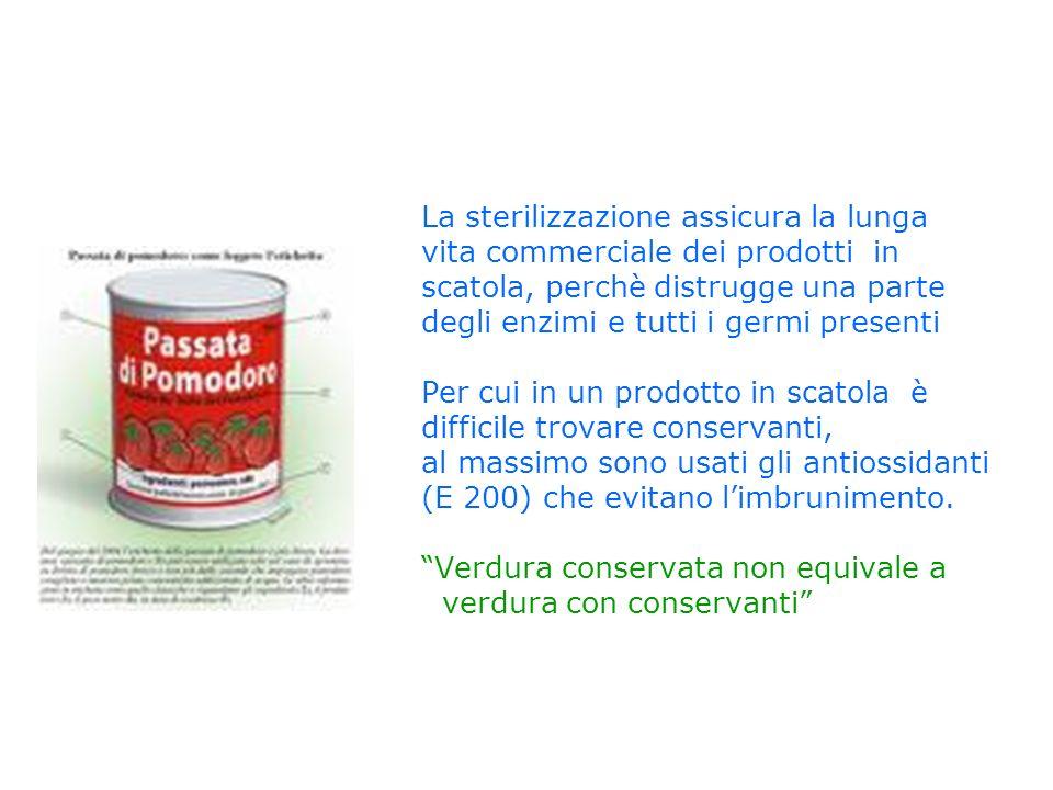 La sterilizzazione assicura la lunga vita commerciale dei prodotti in scatola, perchè distrugge una parte degli enzimi e tutti i germi presenti Per cu
