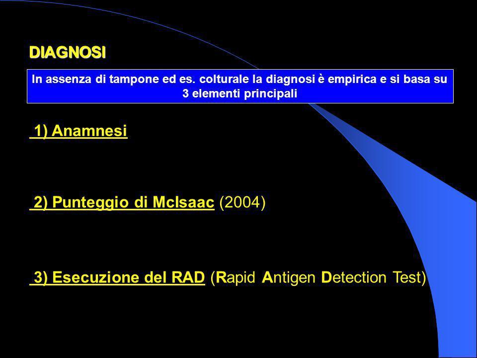 DIAGNOSI In assenza di tampone ed es. colturale la diagnosi è empirica e si basa su 3 elementi principali 1) Anamnesi 2) Punteggio di McIsaac (2004) 3