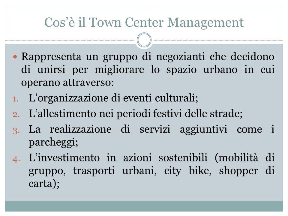 Cosè il Town Center Management Rappresenta un gruppo di negozianti che decidono di unirsi per migliorare lo spazio urbano in cui operano attraverso: 1.